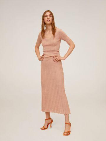 חצאית מידי פליסה סרוגה של MANGO