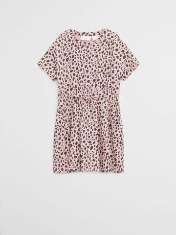 שמלת מיני עם שרוולים קצרים מכותנה אורגנית בהדפס חברבורות / בנות של MANGO