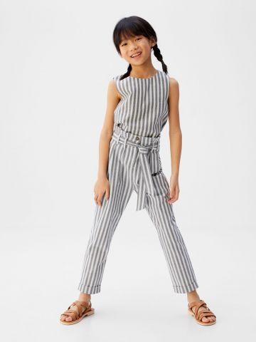 מכנסיים ארוכים בהדפס פסים של MANGO