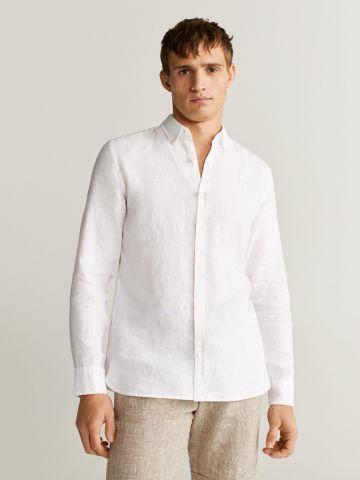 חולצת פשתן מכופתרת Slim-Fit של MANGO