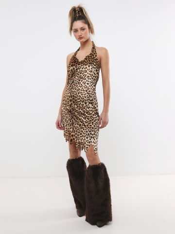 תחפושת אשת המערות עם שמלת קולר מנומרת וחותלות דמוי פרווה / תחפושות לפורים של TERMINAL X