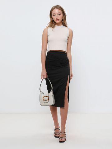 חצאית מידי עם שסע ועיטורי כיווצים של TERMINAL X