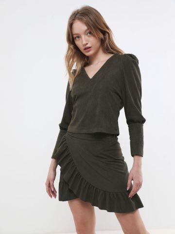 חצאית קורדרוי מיני עם מלמלה של YANGA
