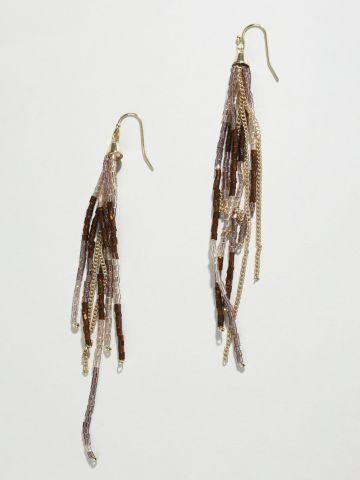 עגילי שנדליר עם חרוזים בעבודת יד של YANGA