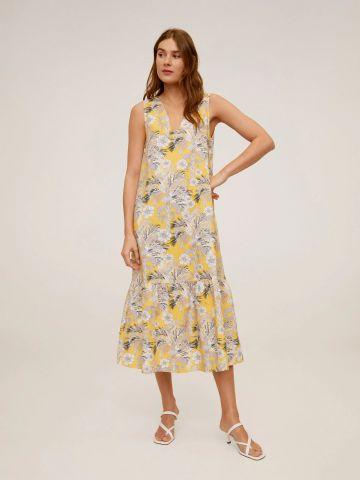 שמלת מקסי בהדפס פרחים עם סיומת פפלום של MANGO