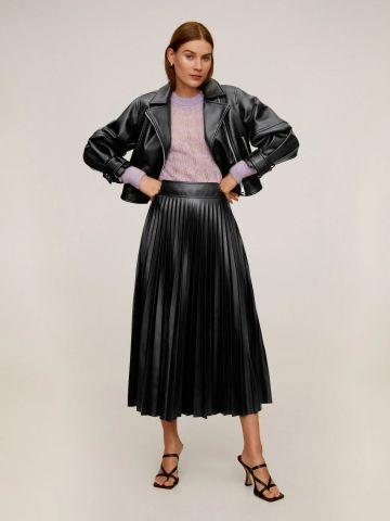 חצאית מידי דמוי עור פליסה של MANGO