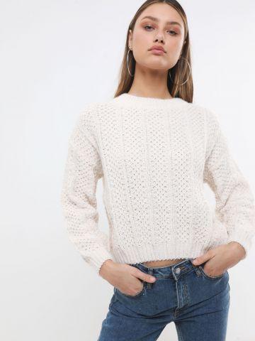 סוודר קלוע בטקסטורת מעויינים של YANGA
