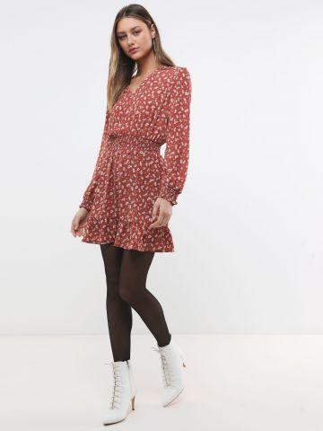 שמלת מיני בהדפס עלים של YANGA