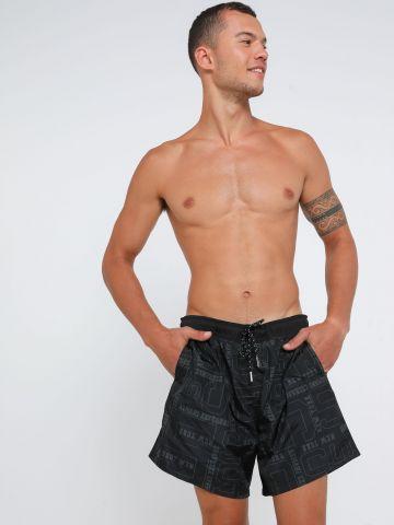 מכנסי בגד ים בהדפס לוגו של ARMANI EXCHANGE
