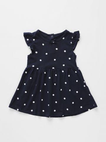 שמלה בהדפס נקודות עם שרוולי מלמלה / 3M-3Y של FOX