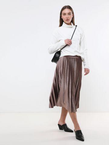 חצאית מידי פליסה מקטיפה של YANGA
