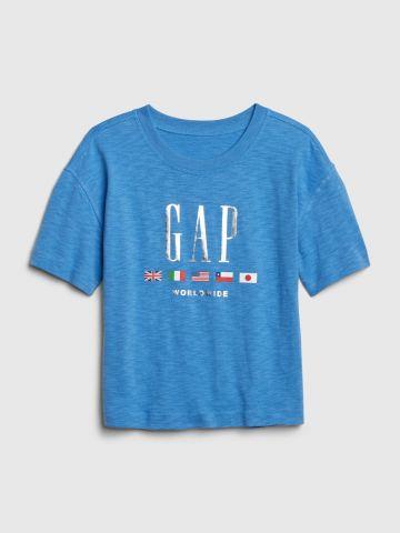 טי שירט לוגו מטאלי / בנות של GAP