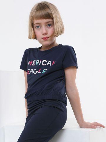 טי שירט לייקרה עם לוגו וגומי בסיומת של AMERICAN EAGLE