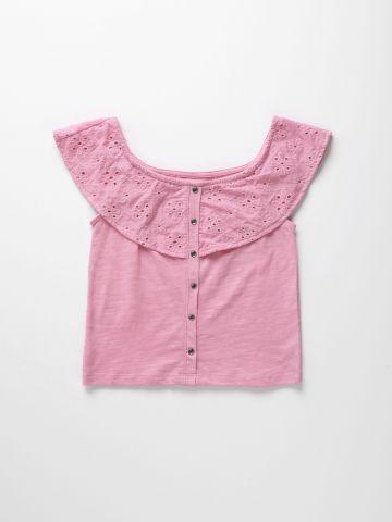חולצת אוף שולדרס עם רקמת פרחים / בנות של AMERICAN EAGLE