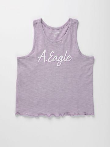 גופייה עם הדפס לוגו וסיומת מסולסלת / בנות של AMERICAN EAGLE