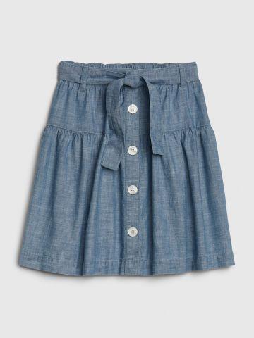 חצאית עם כפתורים וחגורה/ בנות של GAP