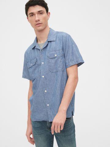 חולצה מכופתרת דמוי ג'ינס של GAP