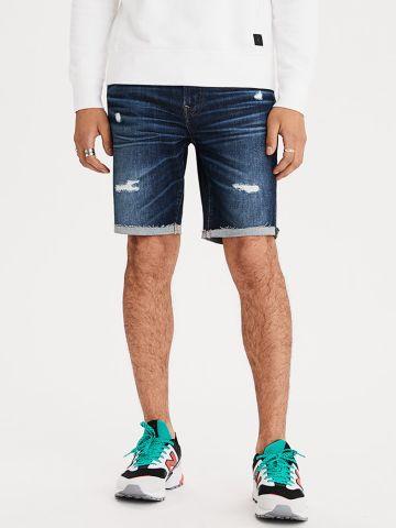 ג'ינס ברמודה בשטיפה כהה עם קרעים של AMERICAN EAGLE