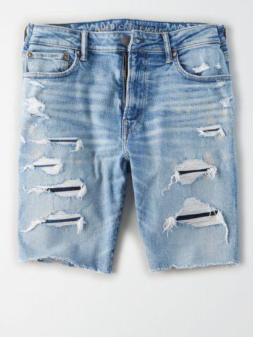 ג'ינס קצר בשטיפה בהירה עם קרעים / גברים של AMERICAN EAGLE