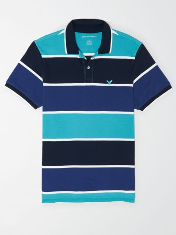 חולצת פולו בהדפס פסים עם לוגו / גברים של AMERICAN EAGLE