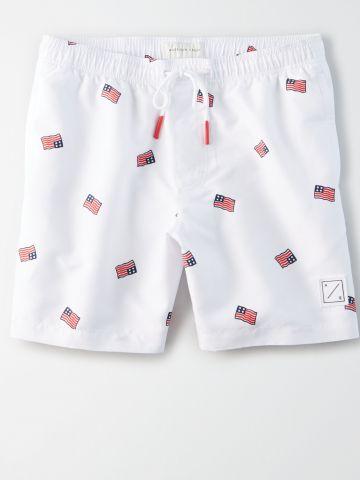 מכנסי בגד ים בהדפס דגל אמריקה / גברים של AMERICAN EAGLE
