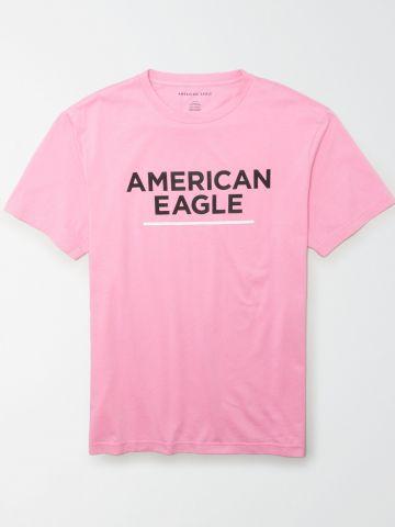 טי שירט עם כיתוב לוגו / גברים של AMERICAN EAGLE