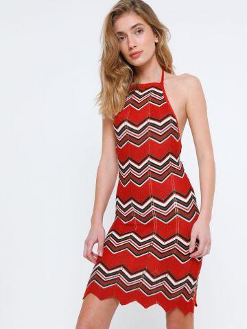 שמלת סריג קולר זיגזג של TERMINAL X