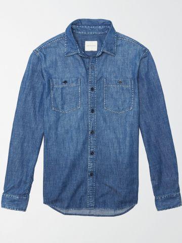 חולצת ג'ינס מכופתרת / גברים של AMERICAN EAGLE