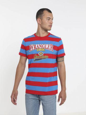 טי שירט פסים עם לוגו של WRANGLER