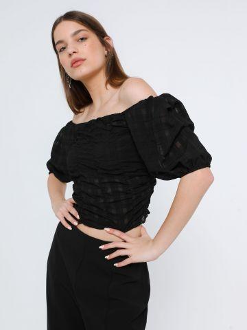 חולצת קרופ אוף שולדרס עם כיווצים של TERMINAL X