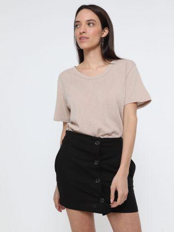 חצאית מיני פשתן עם כפתורים של TERMINAL X