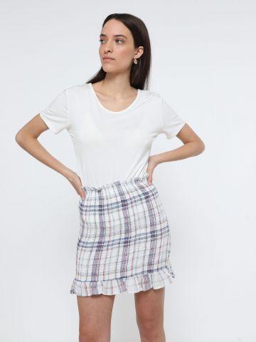 חצאית מיני כיווצים בהדפס משבצות של TERMINAL X