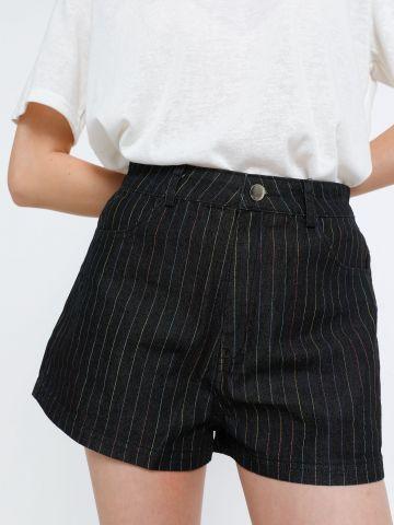 ג'ינס קצר בהדפס פסים צבעוניים של TERMINAL X