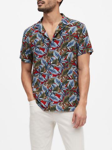 חולצה מכופתרת בהדפס נמרים Slim של BANANA REPUBLIC