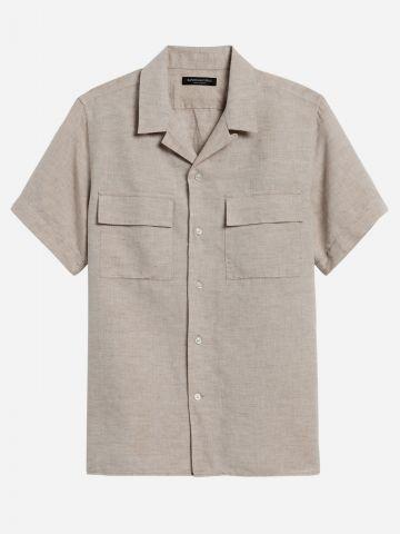 חולצת פשתן מכופתרת עם כיסים / גברים של BANANA REPUBLIC
