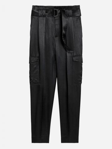 מכנסיים ארוכים סאטן עם חגורה במותן / נשים של BANANA REPUBLIC
