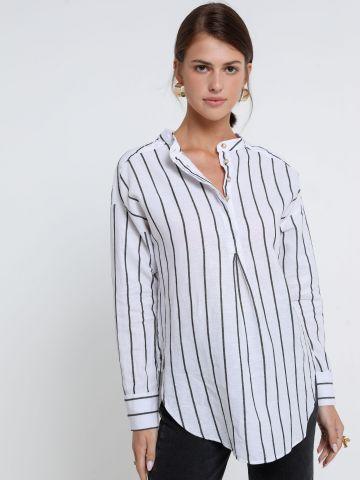 חולצת פשתן בהדפס פסים של BANANA REPUBLIC