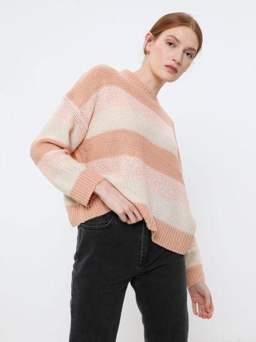 סוודר בדוגמת פסים בשילוב נצנצים של YANGA