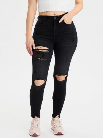 ג'ינס Curvy עם קרעים Super Hi Rise Jegging של AMERICAN EAGLE