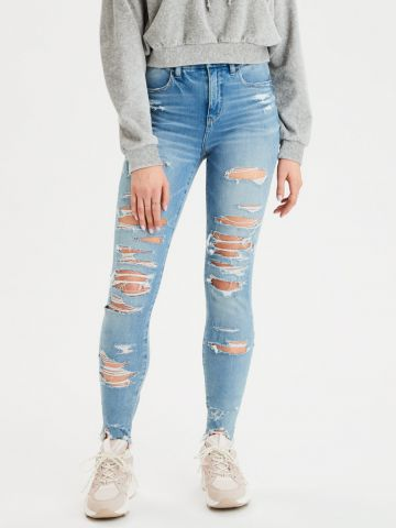ג'ינס Curvy עם קרעים Hi Rise Jegging של AMERICAN EAGLE