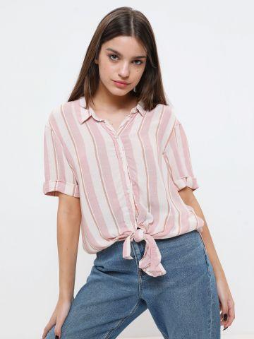 חולצה מכופתרת בהדפס פסים עם שרוולים קצרים של AMERICAN EAGLE
