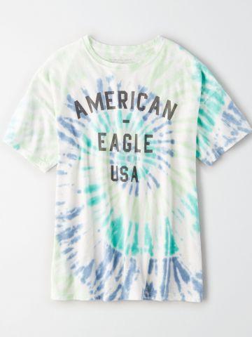 טי שירט טאי דאי עם הדפס כיתוב / נשים של AMERICAN EAGLE