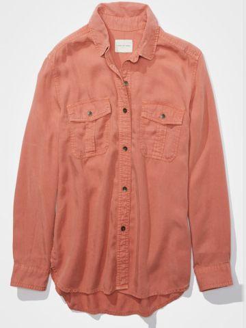 חולצה מכופתרת מבד נשפך / נשים של AMERICAN EAGLE