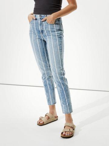 ג'ינס ארוך קרופ בהדפס פסים של AMERICAN EAGLE