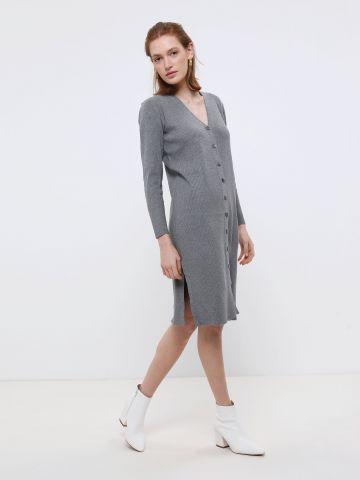 שמלת מידי ריב מכופתרת של YANGA