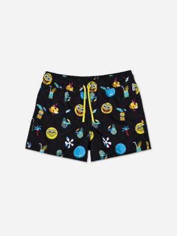 מכנסי בגד ים בהדפס בוב ספוג / בנים של HAPPY SOCKS