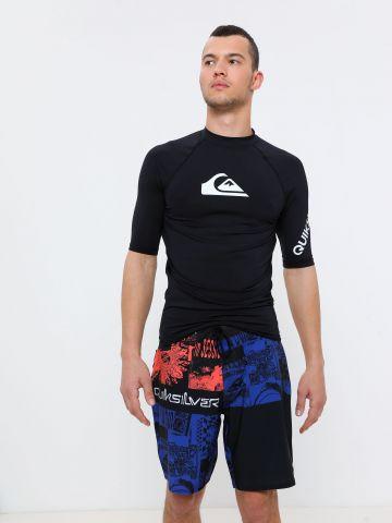 מכנסי בגד ים עם הדפס איורים ולוגו של QUIKSILVER