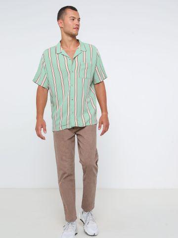 חולצה מכופתרת קצרה בהדפס פסים UO של URBAN OUTFITTERS