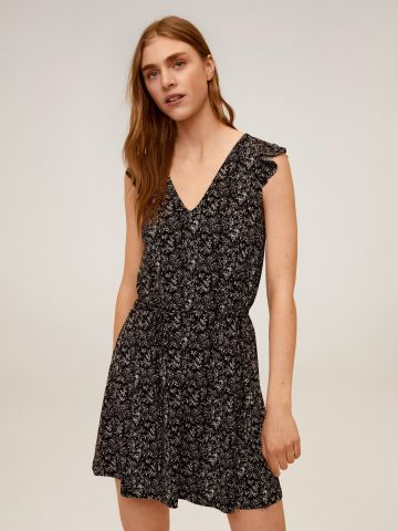 שמלת מיני בהדפס פרחים עם מלמלה בשרוולים של MANGO