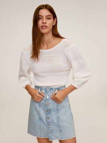 חצאית ג'ינס מיני עם כפתורים של MANGO